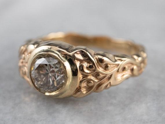 Botanical Champagne Diamond Ring, Champagne Diamo… - image 3