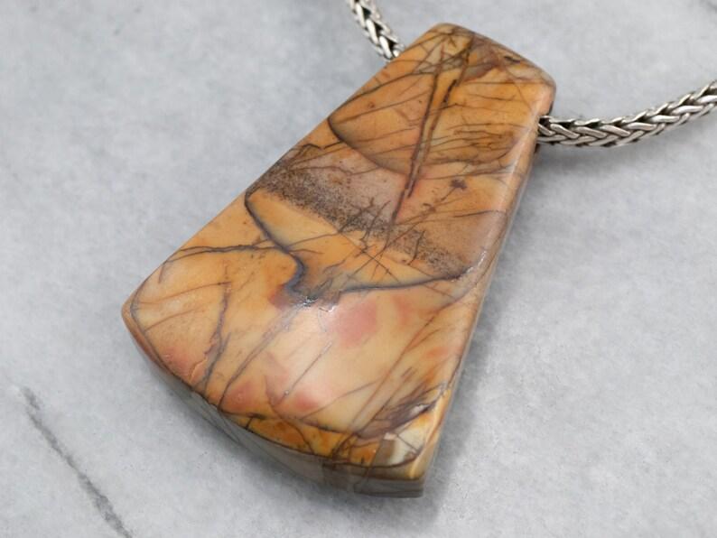Sterling Silver Jasper Necklace Large Jasper Pendant Statement Jewelry Jasper Jewelry Cabochon Jewelry K9QAF6AP