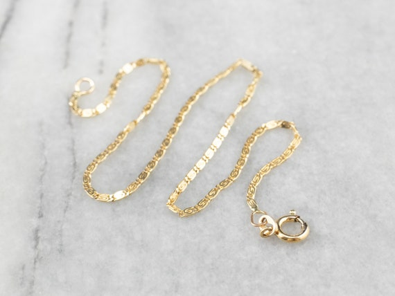 14K Gold Scroll Chain Anklet, Thin Chain Anklet, L