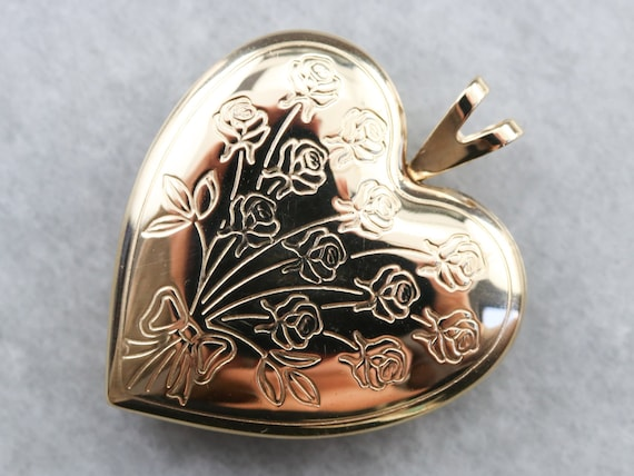 Vintage Gold Heart Locket, Engraved Locket, Floral