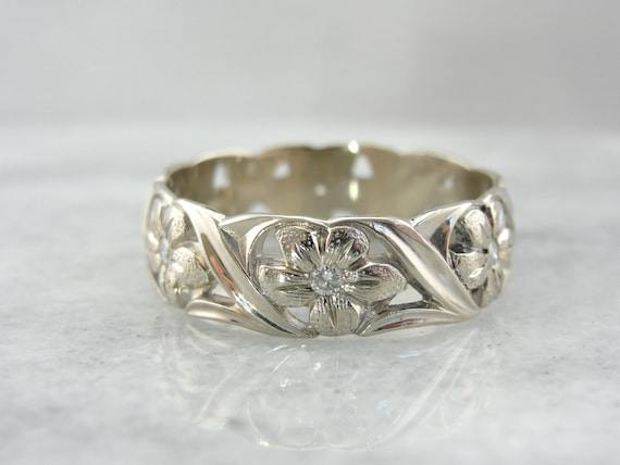 Vintage Floral Art Carved Diamond And White Gold Wedding Band Etsy