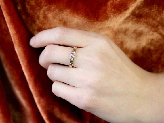 Vintage Diamond Solitaire Ring, Two Tone Gold Dia… - image 9