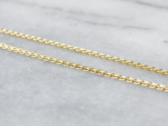 14K Gold Wheat Chain, Yellow Gold Necklace, 16 Inc