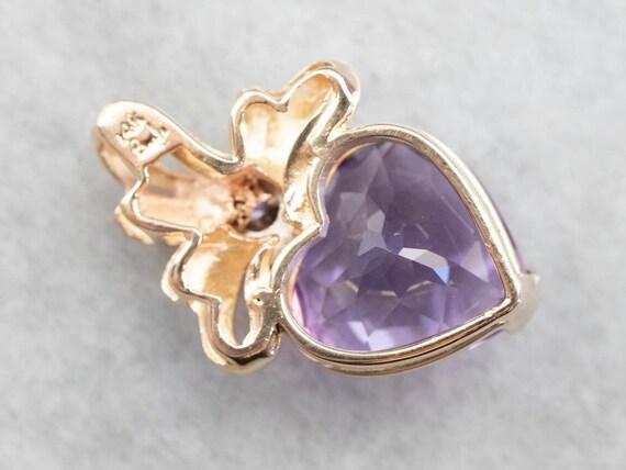 Amethyst Heart and Diamond Pendant, Amethyst Ribb… - image 5