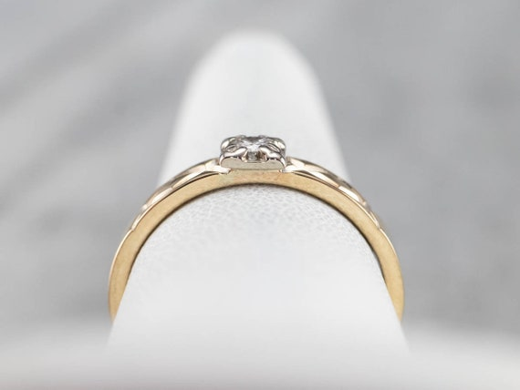 Vintage Diamond Solitaire Ring, Two Tone Gold Dia… - image 7