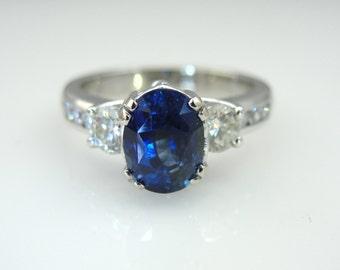 Outstanding Ceylon Sapphire and DIamond Ladies Ring HVYYM1-P
