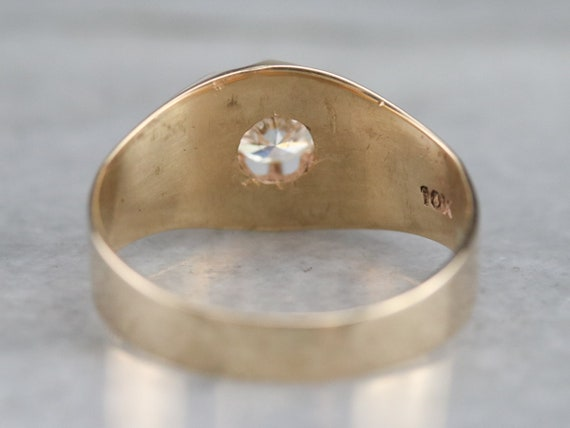 Belcher Set Diamond Ring, Unisex Diamond Solitair… - image 6
