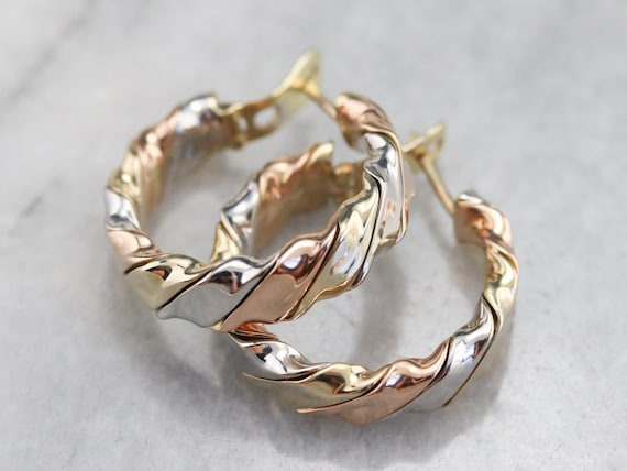 Tricolor Gold Twist Hoop Earrings, Mixed Metal Hoo