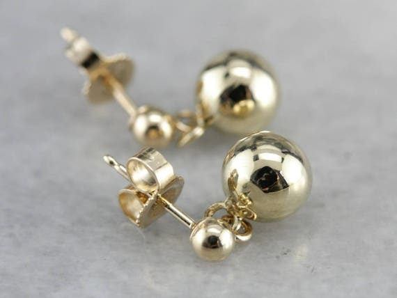 Yellow Gold Drop Earrings, Ball Drop Earrings, Sim