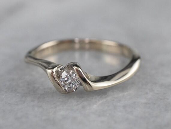 Diamond White Gold Solitaire Ring, Diamond Engage… - image 3