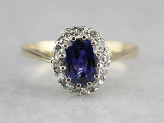 Sapphire Halo Ring, Sapphire Engagement Ring, Sapp