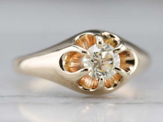 Unisex Diamond Belcher Ring, Antique Diamond Soli… - image 2