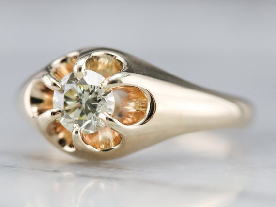 Unisex Diamond Belcher Ring, Antique Diamond Soli… - image 3
