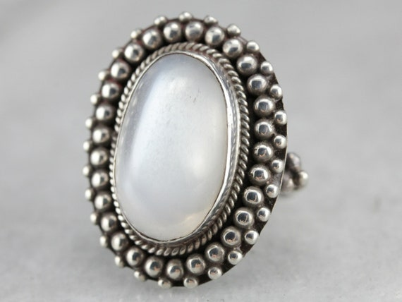 Moonstone Cocktail Ring, Sterling Silver Moonstone