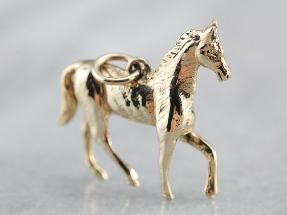Vintage Horse Charm, Animal Charm, Yellow Gold Cha