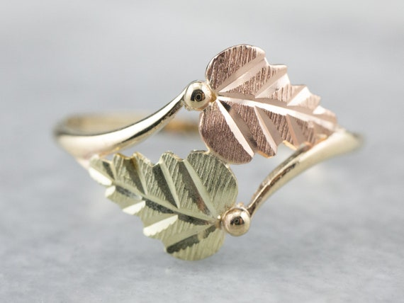 Black Hills Gold Ring, Tri Color Gold Ring, Leaf R