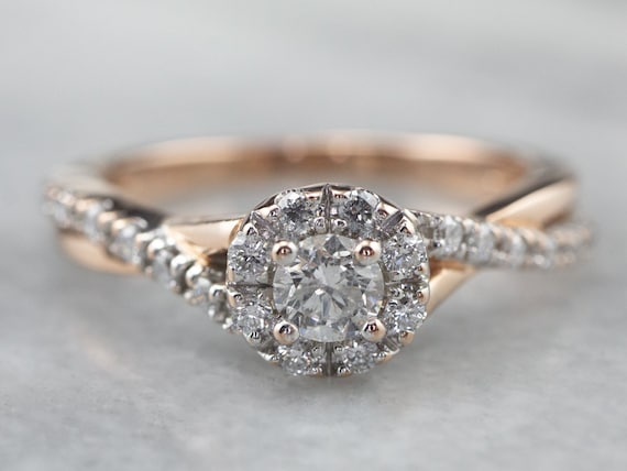 Diamond Halo Engagement Ring, Rose Gold Engagement