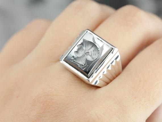 925 Market Square Mix Metal Hematite Intaglio Statement Ring