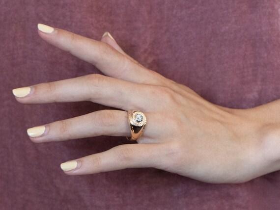 Unisex Old Mine Cut Diamond Ring, Vintage Diamond… - image 10