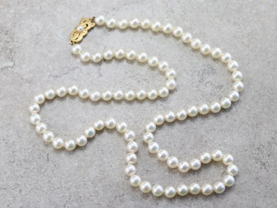 Vintage Cultured Pearl Necklace, Bridal Pearl, Bea