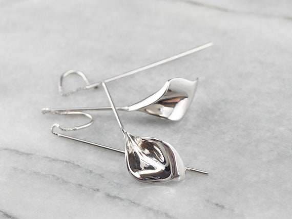Calla Lily Drop Earrings, Threader Drop Earrings,