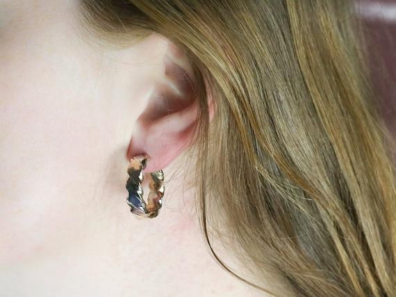 Tricolor Gold Twist Hoop Earrings, Mixed Metal Ho… - image 10