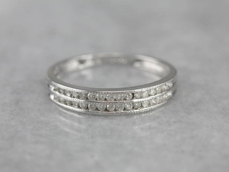 9657e8c3a0100 Double Row Diamond White Gold Wedding Band, Stacking Ring EUQXL0LZ-R