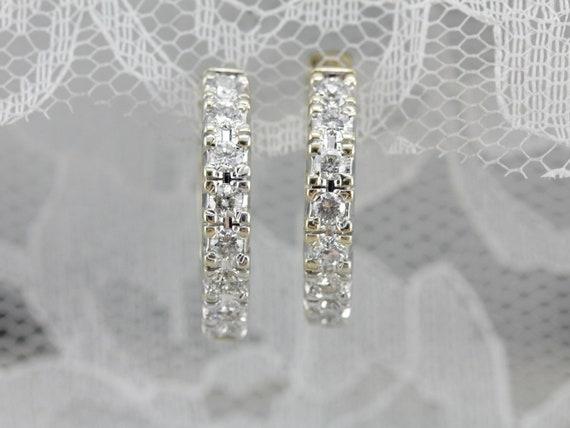 Diamond Hoop Earrings, Yellow and White Gold Hoop… - image 5