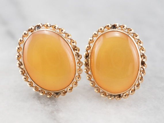 Vintage Yellow Mother of Pearl Stud Earrings, Yell