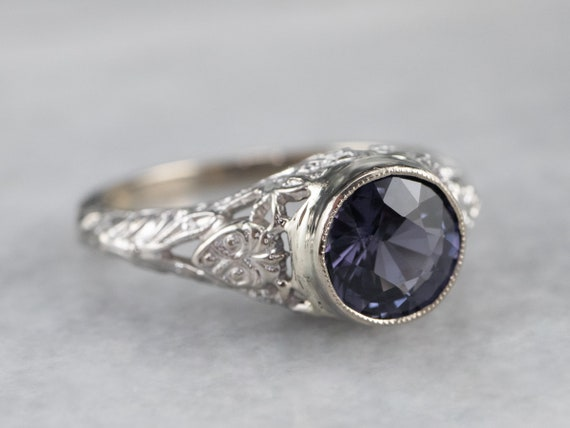 Spinel White Gold Filigree Ring, Solitaire Ring, … - image 1