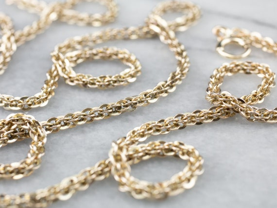 Antique Gold Fancy Chain, 10K Gold Chain, Long Cha