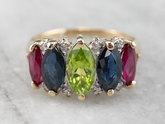 Marquise Gemstone Ring, Gemstone Cocktail Ring, Mu