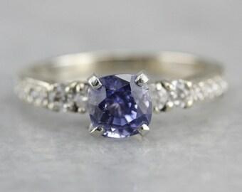 Gorgeous Periwinkle White Gold, Diamond and Ceylon Sapphire Engagement Ring 1JTD1E-D