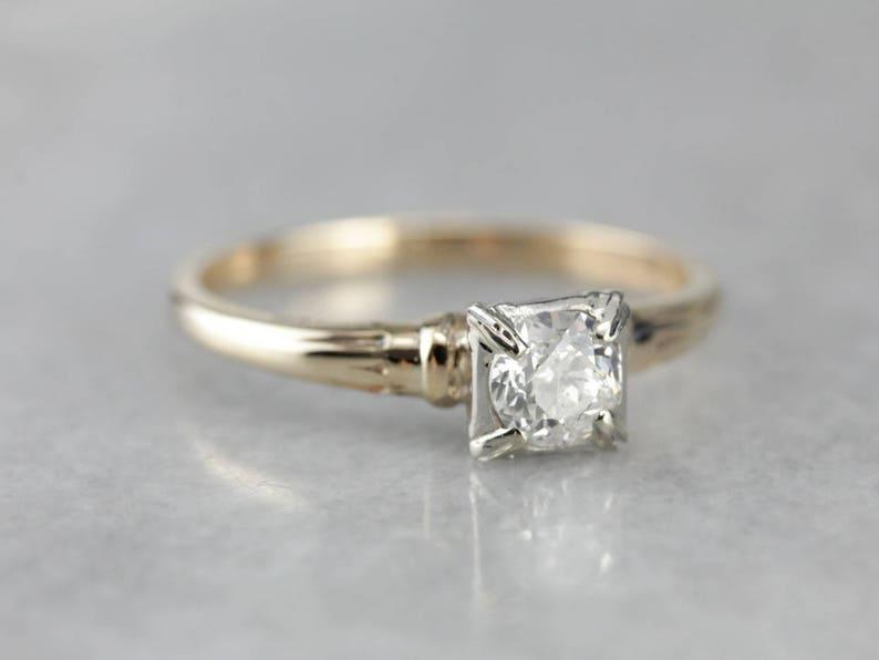 a0a4b41f6d7 European Cut Diamond Ring, Retro Era Engagement Ring, Vintage Solitaire  Ring JXMA67-P