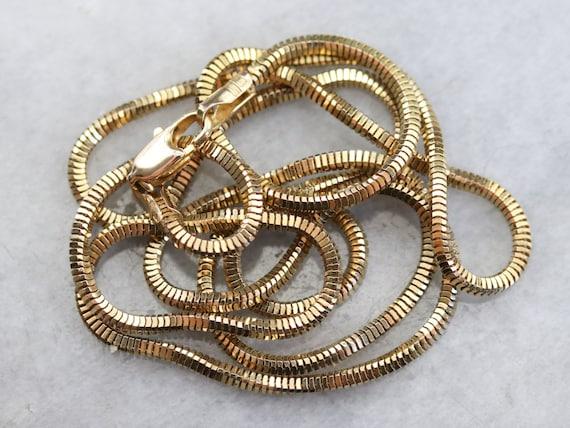 Vintage Gold Box Snake Chain, Gold Snake Chain, Sn