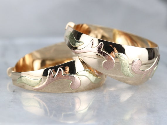 Vintage Large Gold Hoop Earrings, Patterned State… - image 3
