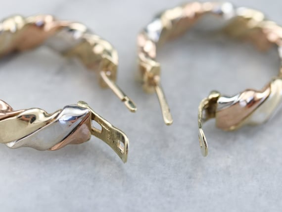 Tricolor Gold Twist Hoop Earrings, Mixed Metal Ho… - image 5
