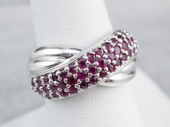Sterling Silver Ruby Twist Band, Ruby Statement R… - image 7