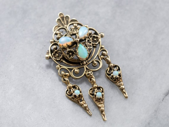 Victorian Revival Opal Gold Brooch, Opal Filigree