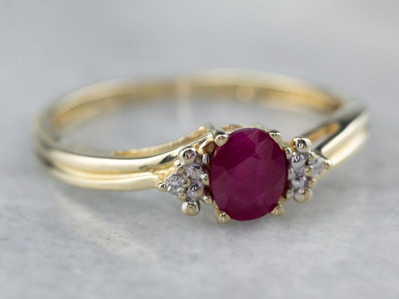 Ruby and Diamond Ring, Ruby Anniversary Ring, Yell