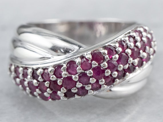 Sterling Silver Ruby Twist Band, Ruby Statement R… - image 1