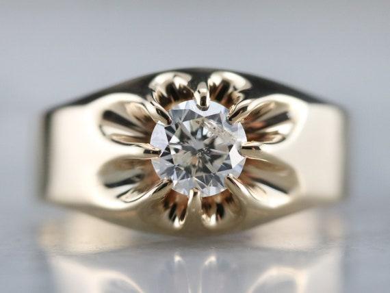Belcher Set Diamond Ring, Unisex Diamond Solitair… - image 1