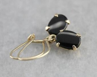 Black Onyx Drop Earrings, Onyx and Gold Earrings, Black Stone Earrings 8XR6Z0ZE-P