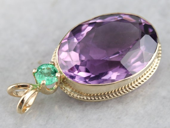 Amethyst and Emerald Pendant, Yellow Gold Amethys… - image 4