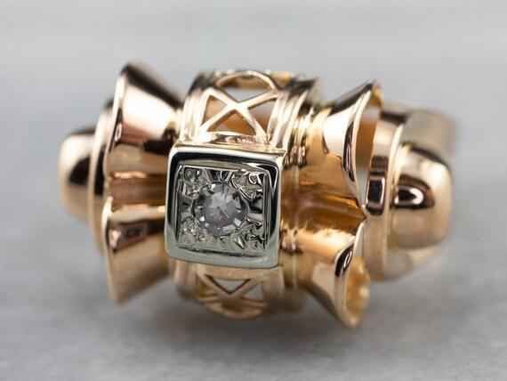 Retro Diamond Statement Ring, Gold Diamond Ring, D
