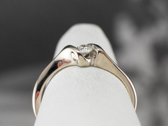 Diamond White Gold Solitaire Ring, Diamond Engage… - image 8