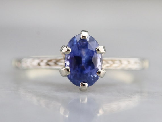 Etched Sapphire Solitaire Ring, Sapphire Engagemen