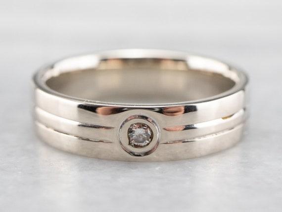 Bezel Set Diamond Band, White Gold Diamond Band, … - image 1