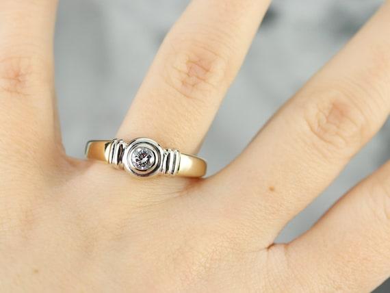 Unisex Diamond Solitaire Ring, Bezel Set Diamond … - image 6