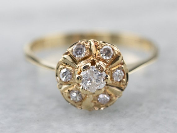 Diamond Halo Gold Engagement Ring, 18K Gold Engage